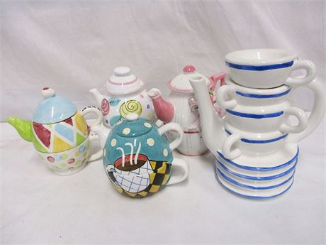 LOT OF 5 WHIMSICAL TEAPOTS