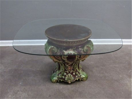 Glass Top Coffee Table with Ceramic Base