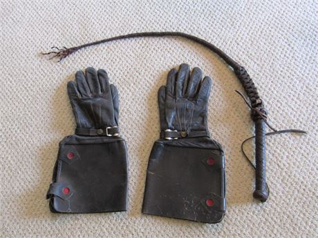 Vintage Pair of Black Leather Equestrian/Riding Gloves and Crop/Whip