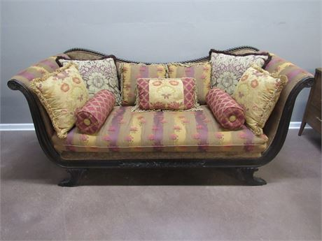 COLORFUL AND COMFY - WAYSIDE FURNITURE SOFA WITH 9 THROW PILLOWS