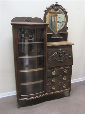 ANTIQUE 3 DRAWER SECRETARY DESK WITH CURIO AND BEVELED GLASS MIRROR