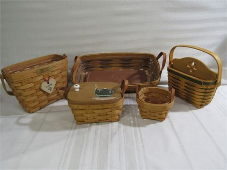 5 Piece Longaberger Basket Lot