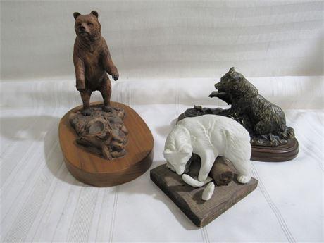 3 Piece Bear Figurine Lot