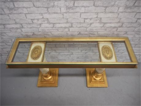 NICE ORNATE GOLD AND WHITE CONSOLE/SOFA TABLE WITH GLASS TOP