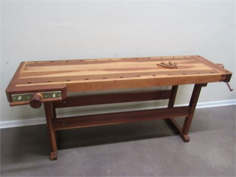 GREAT LOOKING WOODWORKERS BENCH - KITCHEN ISLAND - SOFA TABLE