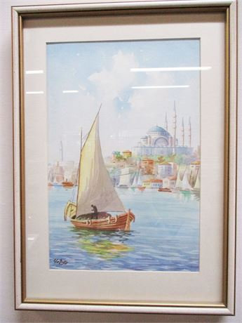 ISTANBUL BAY SCENE WATERCOLOR - SIGNED BY THE ARTIST