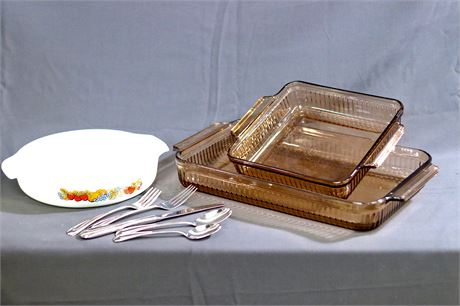 Anchor Hocking Bakeware and some flatware