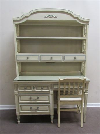 DIXIE FURNITURE DESK WITH HUTCH AND CHAIR