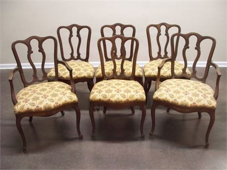 6 VINTAGE DINING CHAIRS NICELY UPHOLSTERED SEATS WITH NAILHEAD TRIM
