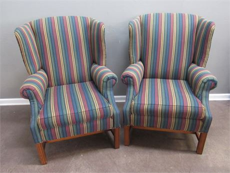 2 Colorful Wesley Hall High-Back Wing-Back Striped Fireside Chairs