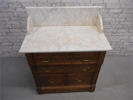 ANTIQUE WASHSTAND/COMMODE WITH MARBLE TOP AND BACKSPLASH
