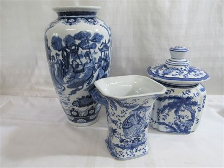 3 PIECE BLUE AND WHITE POTTERY LOT