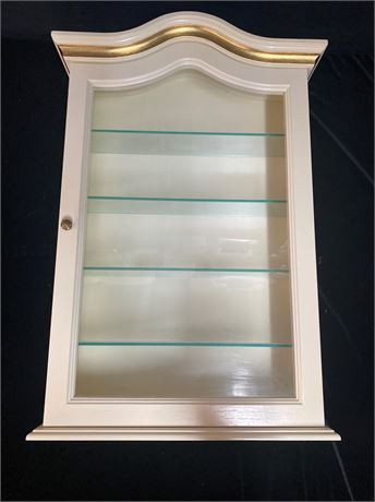 Vintage French Country Wall Cabinet with Gold Tone Accents