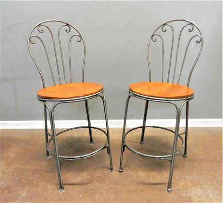 Modern Metal / Wood / Nickel Style Counter /  Barstools Set