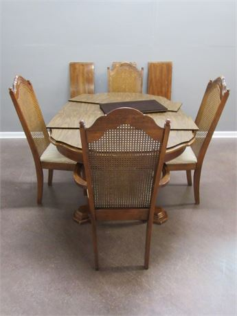 Dining Table with 4 Cane-back Chairs, 3 Leaves and Pads