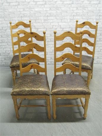 4 LADDER-BACK CHAIRS