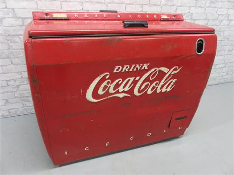Vintage 1950s Coca-Cola Refrigerated Cooler Chest - Westinghouse Model WD12