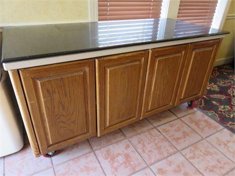 Faux Granite Buffet Server Cabinet