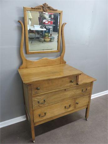 Antique Maple Dresser & Mirror