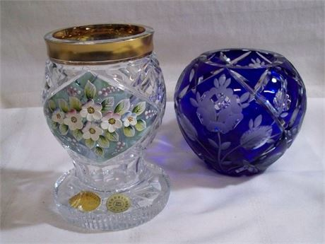 2 LEAD CRYSTAL VASES - COBALT BLUE CUT TO CLEAR AND BOHEMIA