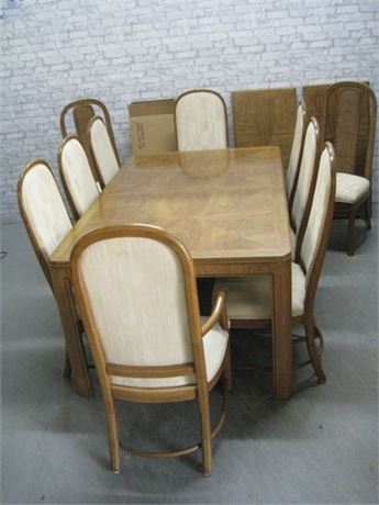 OAK DINING TABLE WITH LEAVES PADS AND 10 CHAIRS