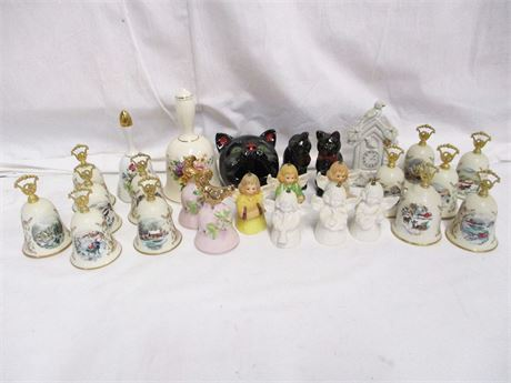 LOT OF COLLECTIBLE CERAMIC BELLS FEATURING GOEBEL AND GORHAM