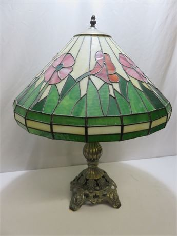 Stained Slag Glass Lamp