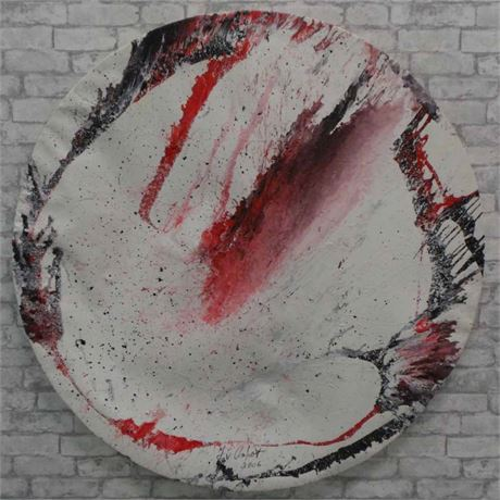 Jet Art Painting - Round in black and red