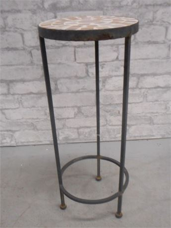 WROUGHT IRON PLANT STAND WITH TILE TOP