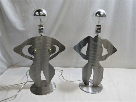 """His"" & ""Hers"" Aluminum Lamps"