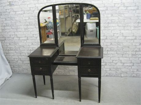 VINTAGE VANITY WITH TRI-FOLD MIRROR AND BENCH