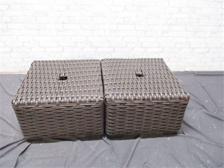 LOT OF 2 OUTDOOR WOVEN TABLES