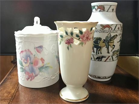 Trio of Vases and a Canister
