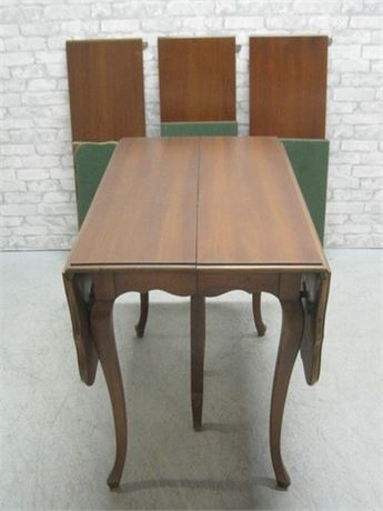 VINTAGE COLONIAL MFG. MAHOGANY DROP-LEAF TABLE WITH 3 ADDITIONAL LEAVES