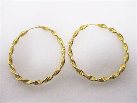 PAIR OF 14K TWISTED GOLD HOOP EARRINGS