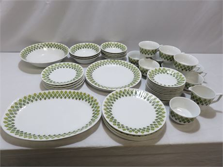 Vintage Mid-Century 48-Piece PONTESA Spanish Crown Ironstone Dinnerware Set