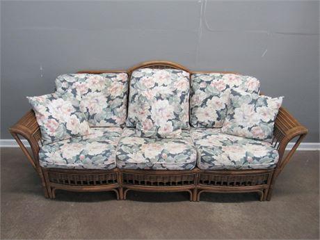 Ayers Furniture Rattan Sun Room Sofa - Floral Fabric Cushions & Matching Pillows
