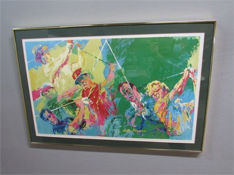 Framed Matted and Signed Leroy Neiman Print - Legends of Golf