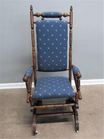 Vintage Victorian Eastlake Spring/Platform Rocking Chair with Front Casters
