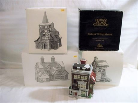 4 PIECE DEPT56 HERITAGE VILLAGE COLLECTION DICKEN'S VILLAGE SERIES LOT