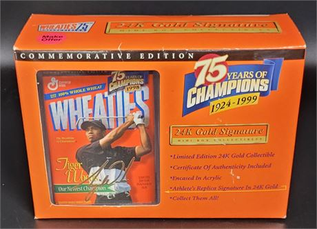TIGER WOODS WHEATIES 75 YEARS OF CHAMPIONS COMMEMORATIVE COLLECTIBLE