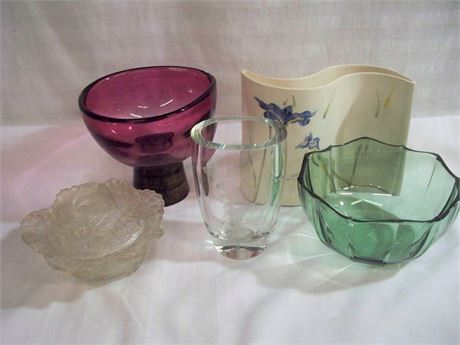 5 PIECE MISC. GLASS/POTTERY LOT