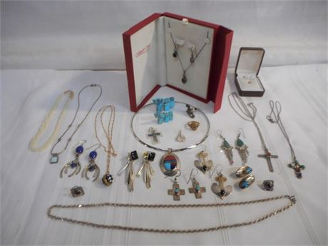 20 PIECE JEWELRY LOT - 10 & 14KT GOLD, LOTS OF STERLING, TURQUOISE & SEED PEARLS