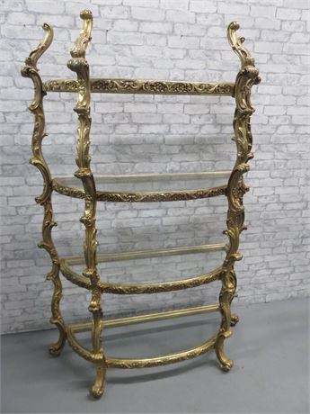 Antique Baroque Style 4-Shelf Curio Display Stand