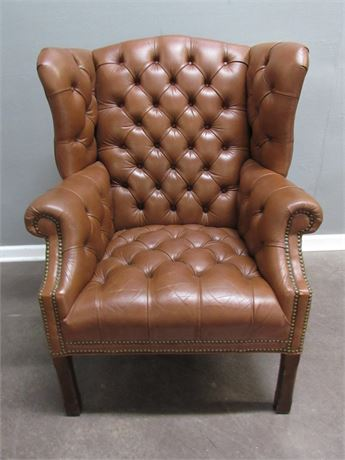 Tufted Brown Leather Fireside Chair with Nailhead Trim
