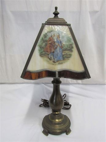 Brass Lamp with Leaded Slag Glass Shade