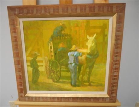SIGNED AND FRAMED OIL ON BOARD - AMISH TWO MEN AND TWO BOYS - JOHN E. POTI