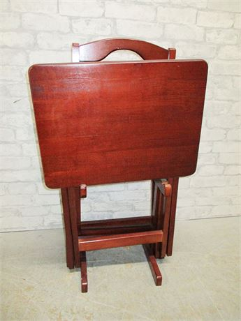 CHERRY-STAINED TV TRAYS