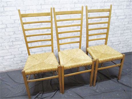LOT OF 3 RUSH SEAT LADDER BACK CHAIRS