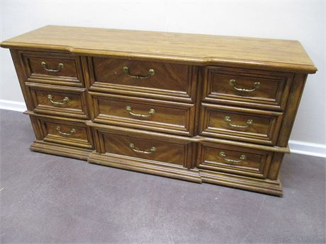 BASSETT TRIPLE DRESSER WITH MIRROR